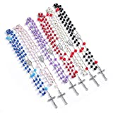6 PCS Rosary Beads Catholic - 6 Color, Confirmation Gifts for Teenage Girl, Artificial Pearls and resin Rose Cross Necklace, Silver Alloy Cross Necklace for Women, Gifts for Women, PCGF (hybrid)