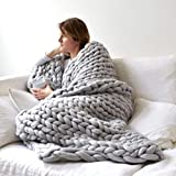Insuwun Chunky Knit Blanket Super Soft Chunky Knit Throw Blanket for Bed, Hand Knitted Cozy Warm Giant Yarn Throw Blankets, Blankets and Throws for Sofa Home Decor Gift (19.7''x19.7'', Gray)