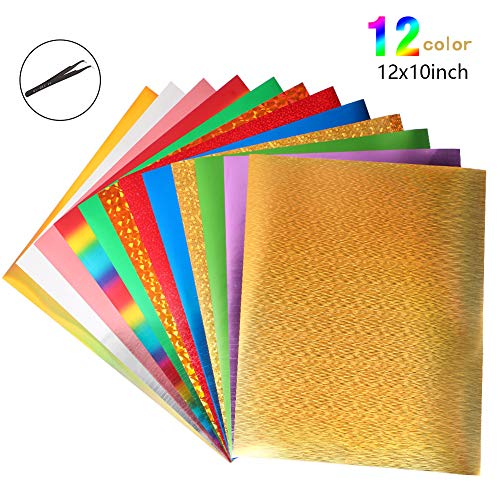 Heat Transfer Vinyl Wärmeübertragung Vinyl Textilfolien Transfer-Papier Textilfolien Transferpapier Transferfolie für DIY T-Shirt, Buchstaben, Aufkleber, Schilder (12 Farben)
