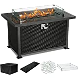PIEDLE Outdoor Propane Gas Fire Pit Table,44-inch 50,000 BTU Patio Fire Table, Black Tempered Tabletop w/Clear Glass Rocks with Resin Wicker Panels. CSA Certification, Black/Rectangle