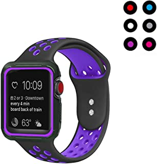 Compatible with Apple Watch Band with Case 42mm 44mm, Vitech Soft Silicone Sport iWatch Band with Shock-Proof Protective Case for Series 3/2/1 (42mm) Series 4 (44mm) (Black-Purple, 42mm/44mm M/L)