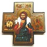 Biblegifts Jesus Good Shepherd - Figura Decorativa con Forma de Cruz Dorada y Plateada...