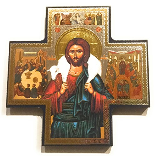 Biblegifts Jesus Good Shepherd - Figura Decorativa con Forma de Cruz Dorada y Plateada metálica para Colgar con Estilo Icono DE 15,24 x 15,24 cm, Regalo religioso