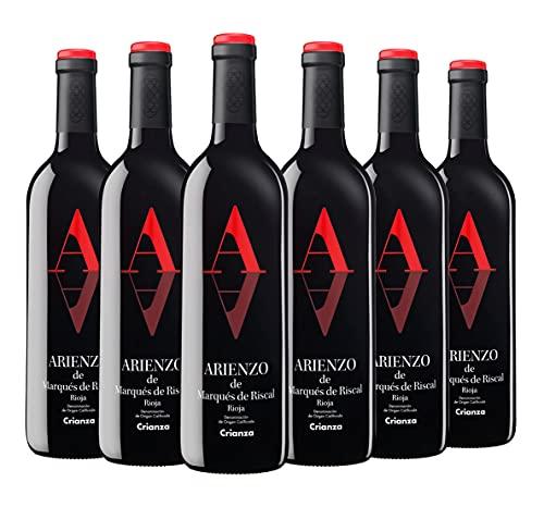 Arienzo de Marqués de Riscal - Vino tinto Crianza Denominación de Origen Calificada Rioja, Variedad Tempranillo, 18 meses en barrica - Caja 6 botellas x 750 ml - Total 4500 ml