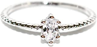 Excelsia 18K Dainty and Delicate Oval-Cut Cubic Zirconia on Stackable Band Ring - Rose Gold/White Gold Plated (Size 3-9)