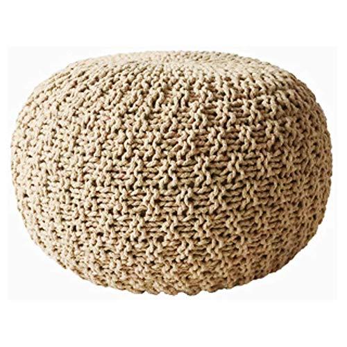 SCJ Taburete Grande de Punto 100% algodón Taburete de pie Redondo de Punto Grueso de 3 tamaños, C, 45 * 45 * 30 CM