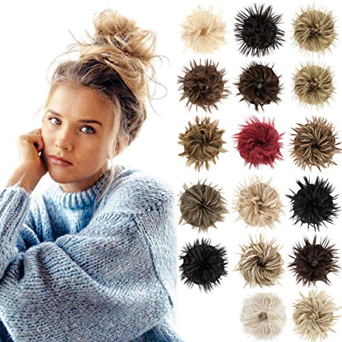 Tousled Updo Messy Bun Scrunchie Fluffy Hair Extension with Elastic Rubber Band Thick Natural Piece Synthetic Hair Accessories Ponytail for Women Girls