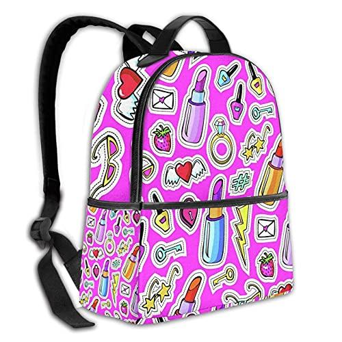 BYTKMFD Mochila duradera jirafa colegio bolsa de escuela niño niña hombres y mujeres mochila de viaje, Doodles Pink, Talla única