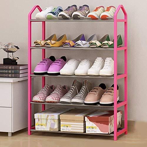DXMRWJ Zapatero de 5 Niveles, Zapatero para Ahorrar Espacio, Armario de Torre, Organizador de Almacenamiento, Capacidad para 15 Pares de Zapatos (Color: Rosa)