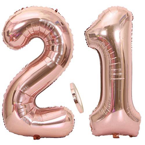 """2 Globos Número 21 Oro Rosa, Ouceanwin Gigante Foil Globos Numeros 21 Grande Globo de Papel de Alumini, 40"""" Globo Inflable Helio para Decoraciones de Fiesta de Cumpleaños 21 Años Niña (100cm)"""
