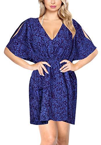 LA LEELA Stampa Kimono Cover up per Le Donne dello Swimwear Blu_Y330 IT Taglia: 46 (L) - 50 (XL)