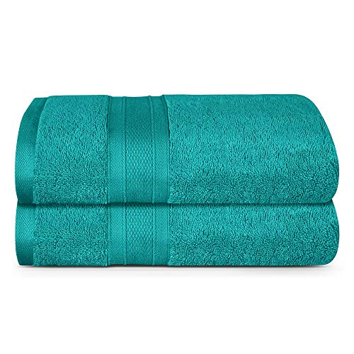 TRIDENT Bath Towel, 2 Piece Bathroom Towel, 100% Cotton, Highly Absorbent, Super Soft, Soft and Plush, 500 GSM (Teal)
