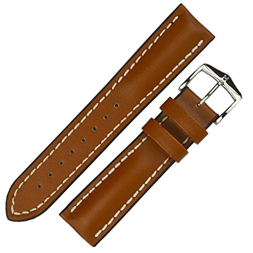 HIRSCH Herren Uhrenarmband Kalbsleder Modell Heavy Calf Größe Uhr 22 mm/Schließe 20 mm, Farbe Goldbraun