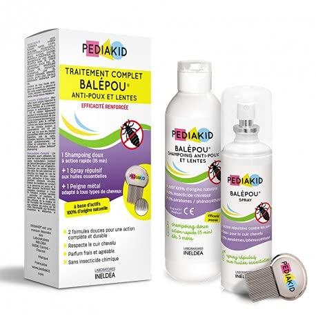 PEDIAKID - Traitement complet Balépou anti-poux et lentes - 1 Shampoing Anti-Poux et Lentes 200 ml + 1 Spray Répulsif 100 ml + 1 peigne