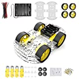 Diymore 4 ruedas Robot chasis Smart Car con velocidad y codificador de tacómetro con caja de batería para Arduino Raspberry Pi Robot Kits de bricolaje