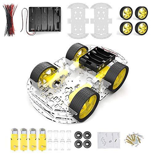4 Rad Roboter Chassis Smart Auto mit Geschwindigkeit und Tacho Encoder mit Batterie Box für Raspberry Pi Roboter DIY Kits