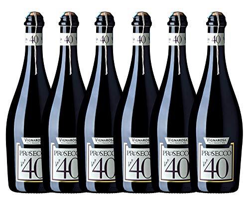 VIGNAROSA vino bianco frizzante Prosecco D.O.C. Treviso'40' - box da 6 bottiglie da 750 ml