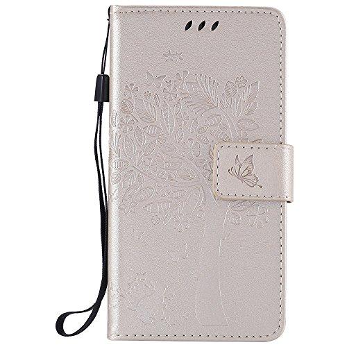 Nancen Compatible with Handyhülle LG K5 (5,0 Zoll) Flip Schutzhülle Zubehör Lederhülle mit Silikon Back Cover PU Leder Handytasche