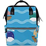 Bolsa de pañales para bebés Mochila Aislante de pañal impermeable grande Bolsa de hombro Organizador de bolsas de hombro Multifunción Cute Ocean Vector Ships Whales