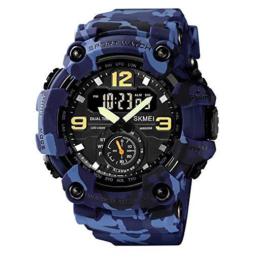Herrenuhren Sport wasserdichte Chronographenuhr Mit Silikonband, Datum, Leuchtende Quarz Armbanduhr Frau,Blue Camouflage