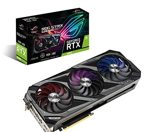 ASUS ROG Strix NVIDIA GeForce RTX 3090 OC Edition Gaming Graphics Card (PCIe 4.0, 24GB GDDR6X, HDMI 2.1, DisplayPort 1.4a, Axial-tech Fan Design, 2.9-Slot, Super Alloy Power II, GPU Tweak II)