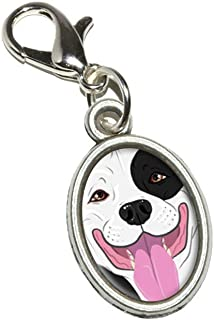 Pit Bull Black White American Staffordshire Terrier Dog Antiqued Bracelet Pendant Zipper Pull Oval Charm with Lobster Clasp