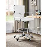 10. Drafting Chair Stool with Footring,Computer Chair with Arm PU Wrap,Footrest Height Adjustable,Padded Tall Ribbed,Back Support,Swivel Rolling,Footrest,Office Chair Swivel Computer Task Chair (White)