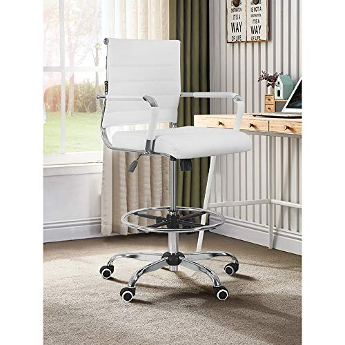 Drafting Chair Stool with Footring,Computer Chair with Arm PU Wrap,Footrest Height Adjustable,Padded Tall Ribbed,Back Support,Swivel Rolling,Footrest,Office Chair Swivel Computer Task Chair (White)