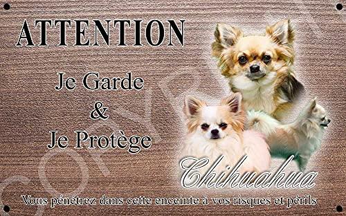 Pets-Easy.com Attention Chien de Garde personnalisée Chihuahua Poil Long - pré percée et vis proposées. De 30 cm à 15 cm…