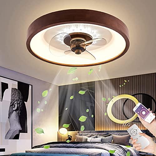 Madera Ventilador de Techo Silencioso Moderna LED Control Remoto Regulable Lámpara de Fan de Madera Dormitorio Luz de Ventilador 3 Velocidades Ajustable para Cuarto de los Niños Salón Estudio, 50cm