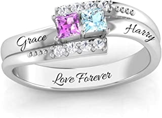 Personalized Sterling Silver Mother Rings with 2 Simulated Birthstones Custom Couples Promise Rings for Her Engraved Promise Love Rings for Women