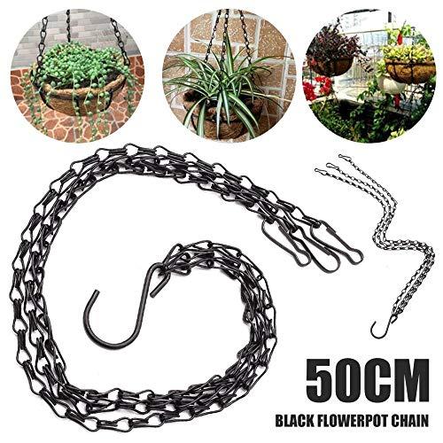 XCVB Ingemaakte kunstbloem Zwarte bloem Plant Pot Mandhouder Hangende ketting met S-vormige haken voor thuis tuingereedschap