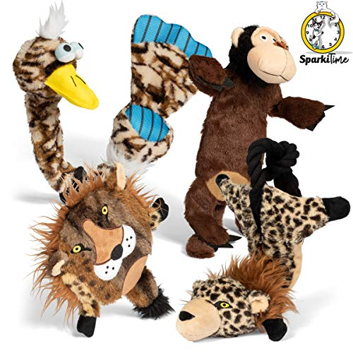 Sparki Time | Dog chew Toys | Dog Toys for Aggressive chewers Large, Medium, and Small Breed | Interactive Puppy Toys | Rope Toys | Crinkle Dog Toy | Dog Toy Squeaky | Plush | Stuffed and no Stuffing