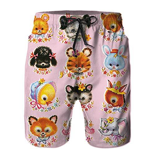 Bañador De para Hombre Pantalones Playa Shorts, Lindos animalitos sobre Fondo Rosa Secado Rápido Ligero Baño Cortos 2XL