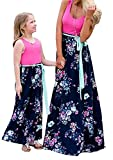 OMZIN Mom and Me Outfits Beach Long Dress Summer Sleeveless Casual Dress Rose Flower 6-7