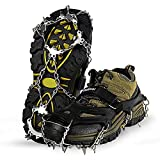 Unigear Ice Traction Cleats, Crampons Snow Cleats for Walking, Jogging, Climbing and Hiking (Black, Large)