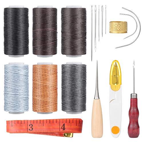 Wodasi 18 Piezas Juego de Herramientas de Costura de Cuero, Hilo encerado de cuero 6 Color, Herramienta de Artesanía de Cuero Accesorios de Costura de Bricolaje con Dedal Punzón de Costura