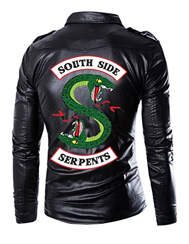 Riverdale Jacke Herren, Southside Serpents Männer Mode Lederjacke Jungen Coole Leder Jacket Kinder Hip Hop Jacken mit Reißverschluss Pullover Sweatshirt Pulli Oberteile Langarmshirts Shirts (1, M)