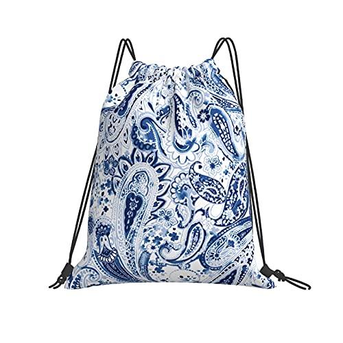 QUEMIN Klassische Kordelzugtasche Vintage Blumen Paisley Traditionelle persische Gurken Ornament Gym Sack Tasche Kordelzug Rucksack Polyester Sporttasche für Männer & Frauen