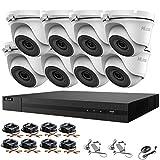 HIKVISION HILOOK - Kit de cámaras CCTV DVR 1080P y 8X 2.0MP Full HD 1080P blanco domo CCTV IR 20M visión nocturna remota fácil visión P2P sistema de cámara de seguridad (1TB HDD preinstalado)