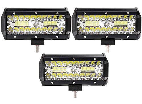 Leetop 3pcs 120W Projecteur Phare de Travail LED Barre de Travail étanche IP67 LED Antibrouillard Feux Diurne Lumière Off Road Lampe Feu de Travail pour Camion 4x4 Tracteur