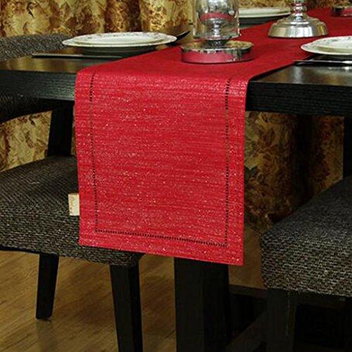 En touch av vinglas modern bordsflagga kaffe bordsduk konsol bordsflagga TV bänk tyg pianotäcka tyg och stilar (färg: Röd, storlek: 33 x 240 cm)