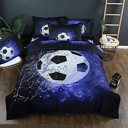 QCSMegy Funda de almohada de poliéster con estampado 3D y estampado de fútbol de tres piezas, suave, cómoda y con estampado de fútbol (tamaño: 150 x 210 cm)