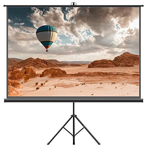 Projector Screen with Tripod Stand – FEZIBO 100 inch 4:3 HD Projection Screen with Stand Portable Foldable for Outdoor Indoor,160° Viewing Angle