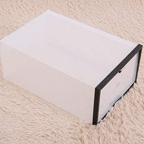 Raguso Caja de zapatos de plástico Cajón Caja de almacenamiento multiusos para organizar zapatos de hombre y mujer (negro)