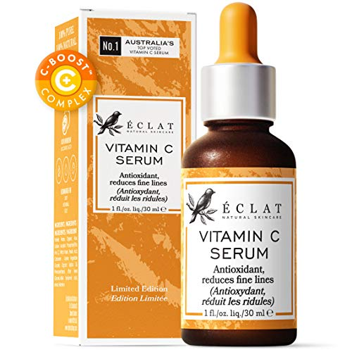 Organic Vitamin C Serum for Face/Neck/Eyes - 8x More Powerful Patented Cold Processed Serum with 20% Vitamin C - 100% Vegan - Dermatologist Developed