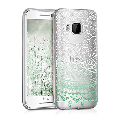 kwmobile TPU Schutzhülle für HTC One S9 - Motiv Indische Sonne in Mint/Weiß/Transparent