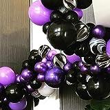 PuTwo Globos Negros y Púrpuras, Globos Púrpuras Globos Negros Globos de Mármol Negro, Globos para Fiesta Vampirina, Fiesta Hotel Transilvania, Boda Púrpura, Fiesta Púrpura