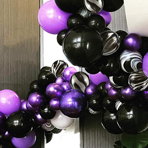 PartyWoo Black and Purple Balloons, 40 pcs 12 Inch Pearl Purple Balloons, Marble Balloons, Purple and Black Balloons, Royal Purple Balloons for Purple Party Decorations, Vampire Party, Vampirina Party