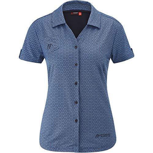 Maier Sports Damen Lleyn Hemd, Dark Blue Allover, EU 48